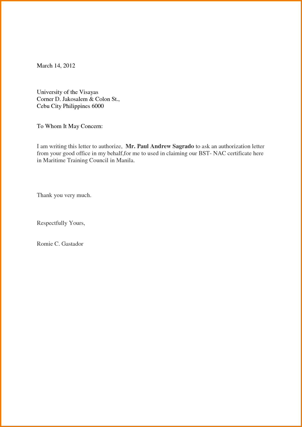 Authorization Letter Sample To Act on Behalf