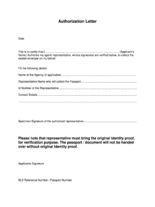 Authorization Letter To Pick up Passport