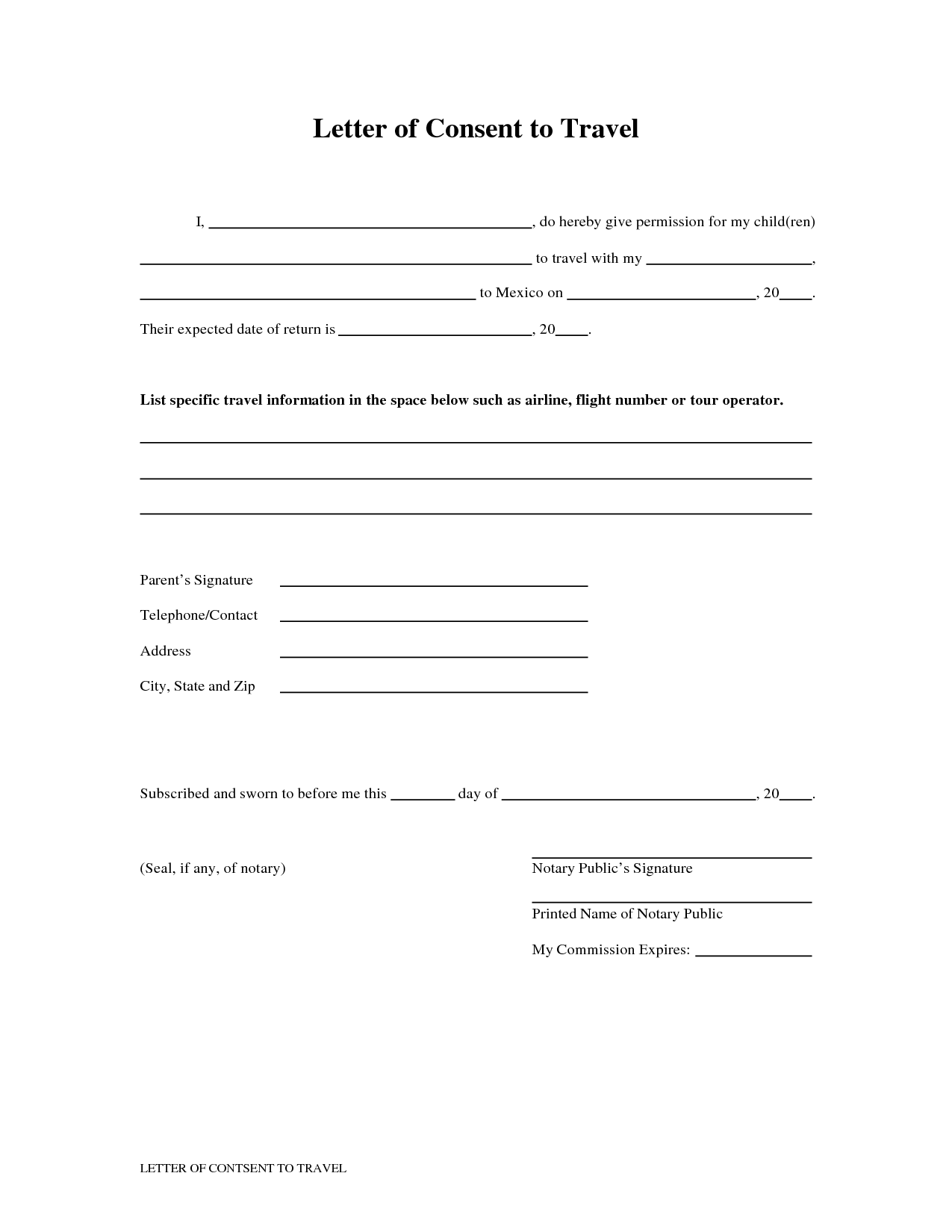 Authorization Letter For Minor To Travel without Parents