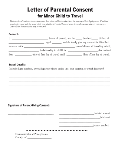 Letter of Authorization For The Child To Travel