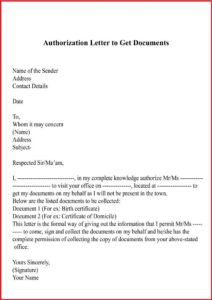 Letter of Authorization To Get Documents pdf