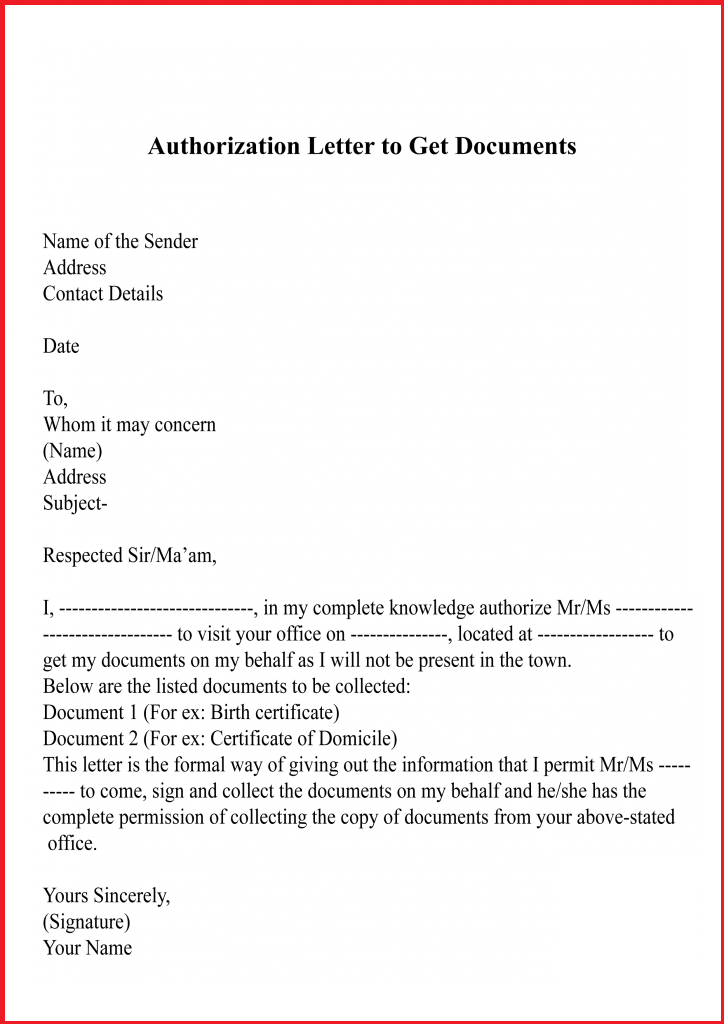 Letter of Authorization To Get Documents