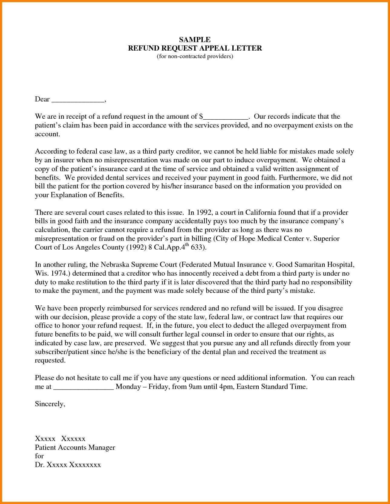 Sample Insurance Appeal Letter For No Authorization
