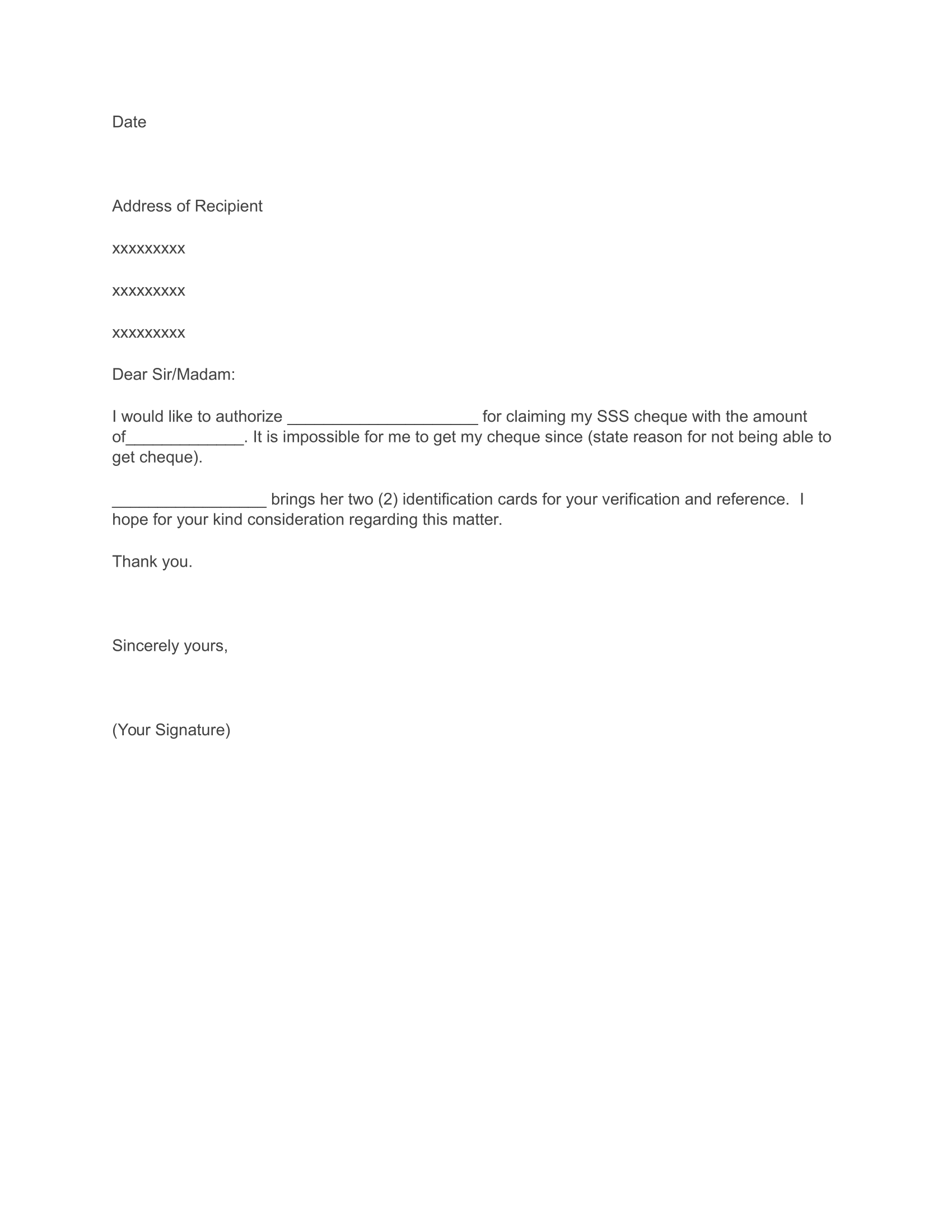 Authorization Letter for SSS Representative