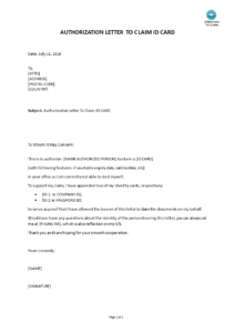 Letter of Authorization To Claim Money