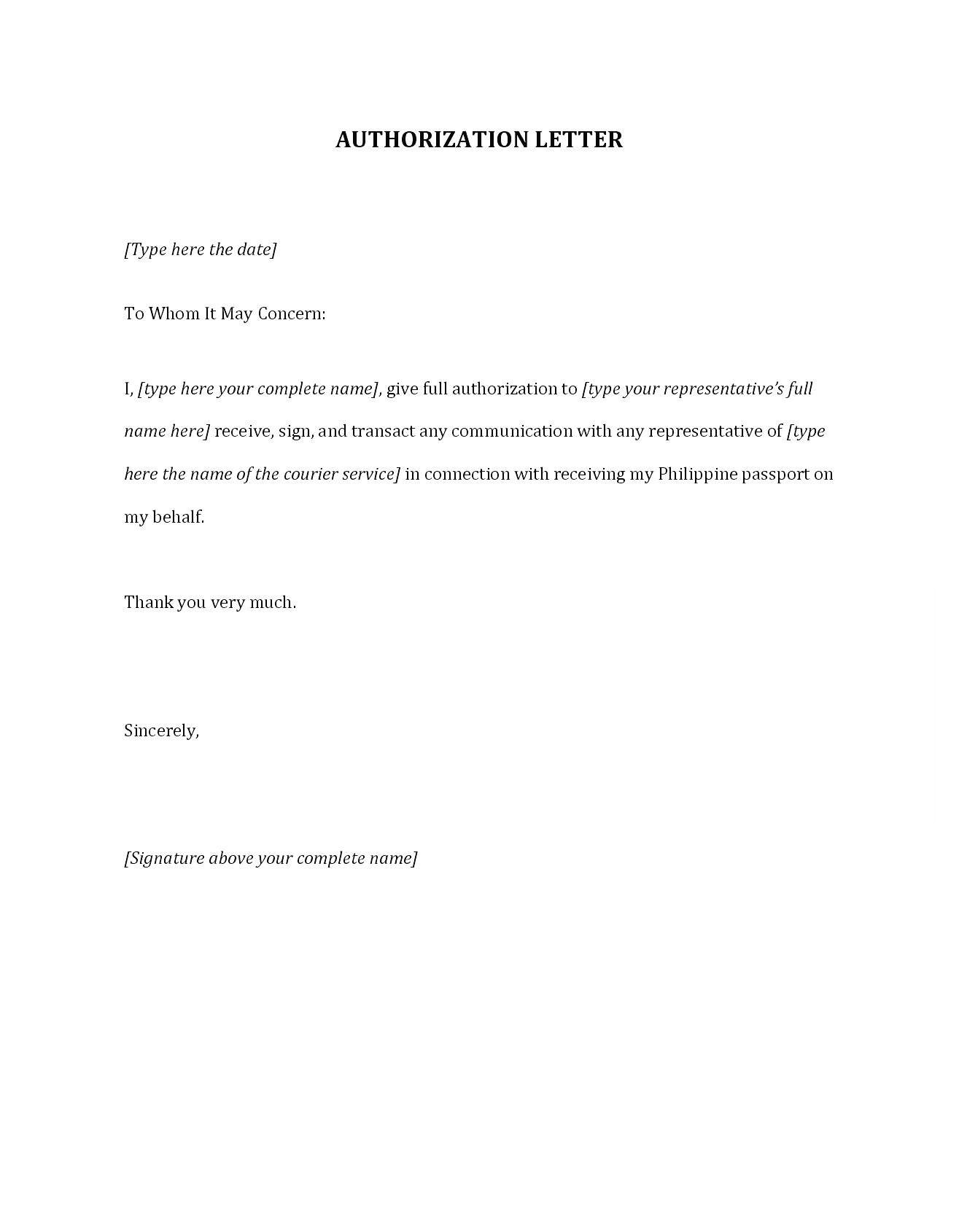 Letter of Authorization for Representative