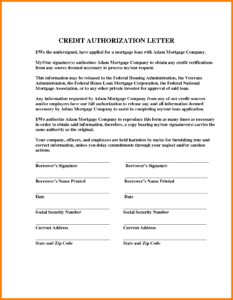 Authorization Letter For Credit Card PDF