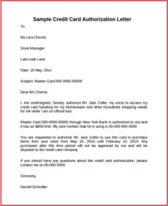 Authorization Letter For a Credit Card