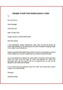 Authorization Letter For a Credit Card pdf
