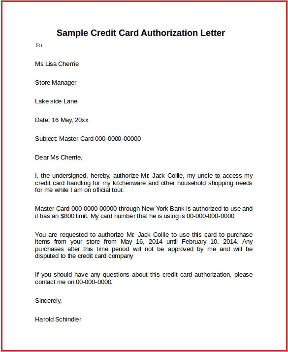 Authorization Letter For Credit Card