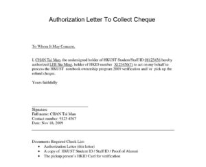 Authorization Letter To Collect Cheque