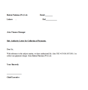 Authorization Letter To Collect Cheque from Bank
