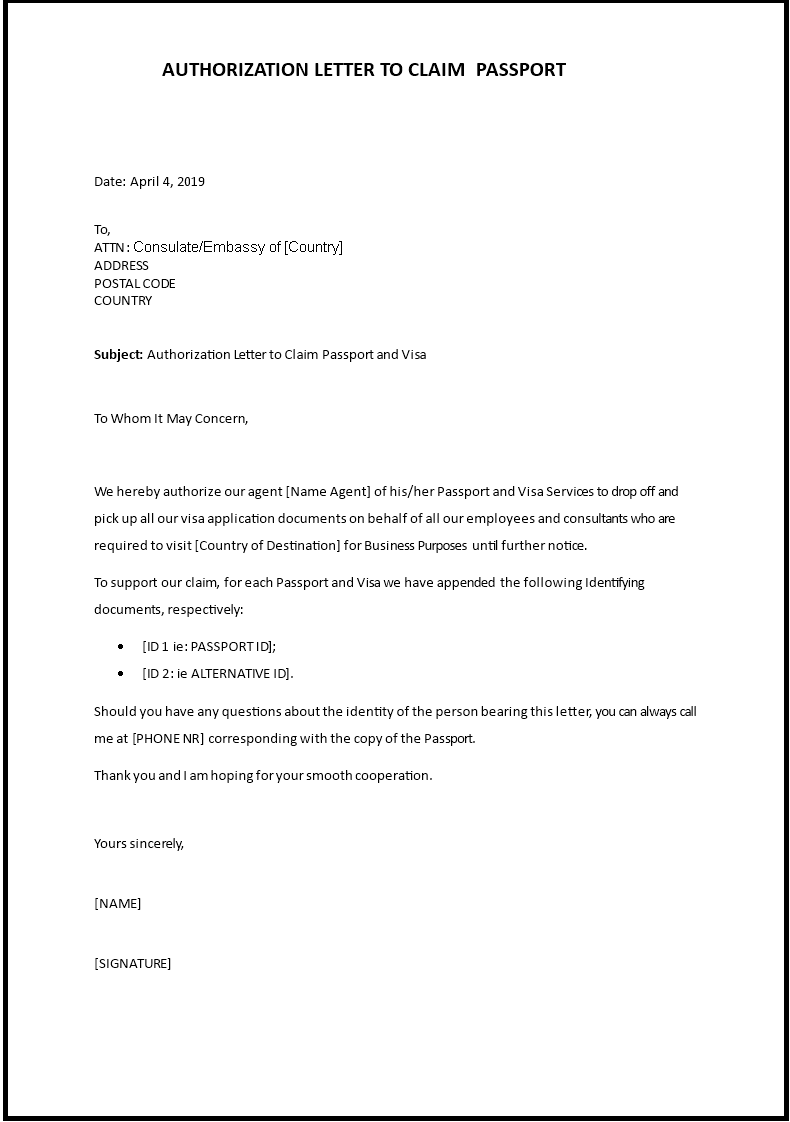 Authorization Letter To Collect Passport Sample