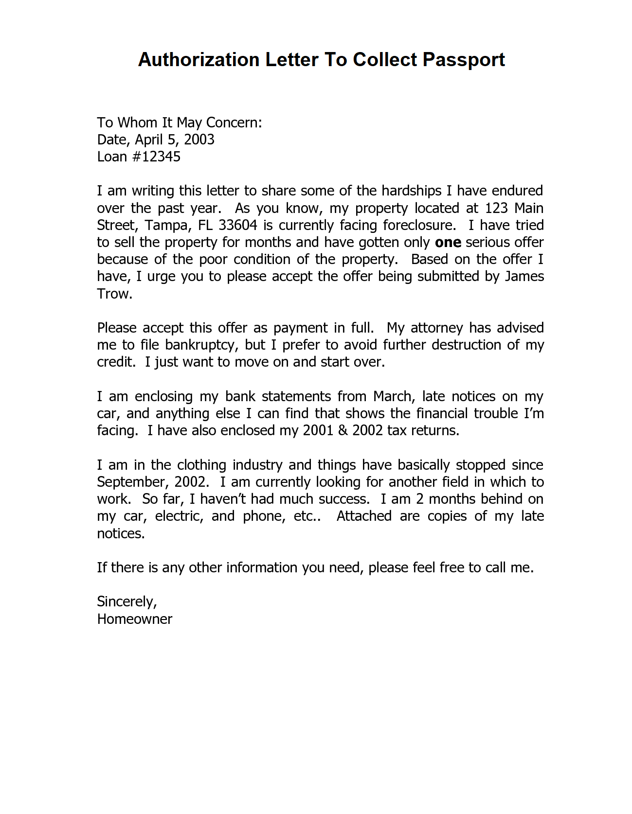 Authorization Letter To Collect Passport from Post Office