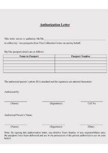 Authorization Letter To Collect Passport from VFS pdf