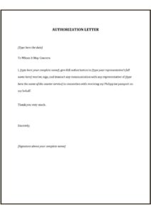 Authorization Letter To Collect Passport pdf