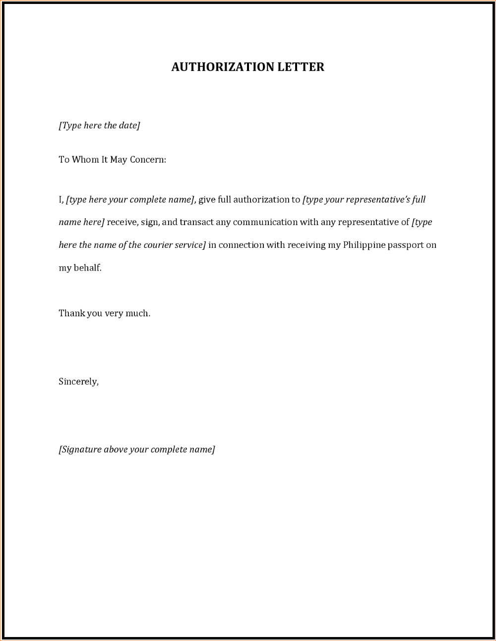 Authorization Letter To Collect Passport