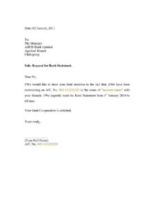 Authorization Letter for Bank Statement pdf