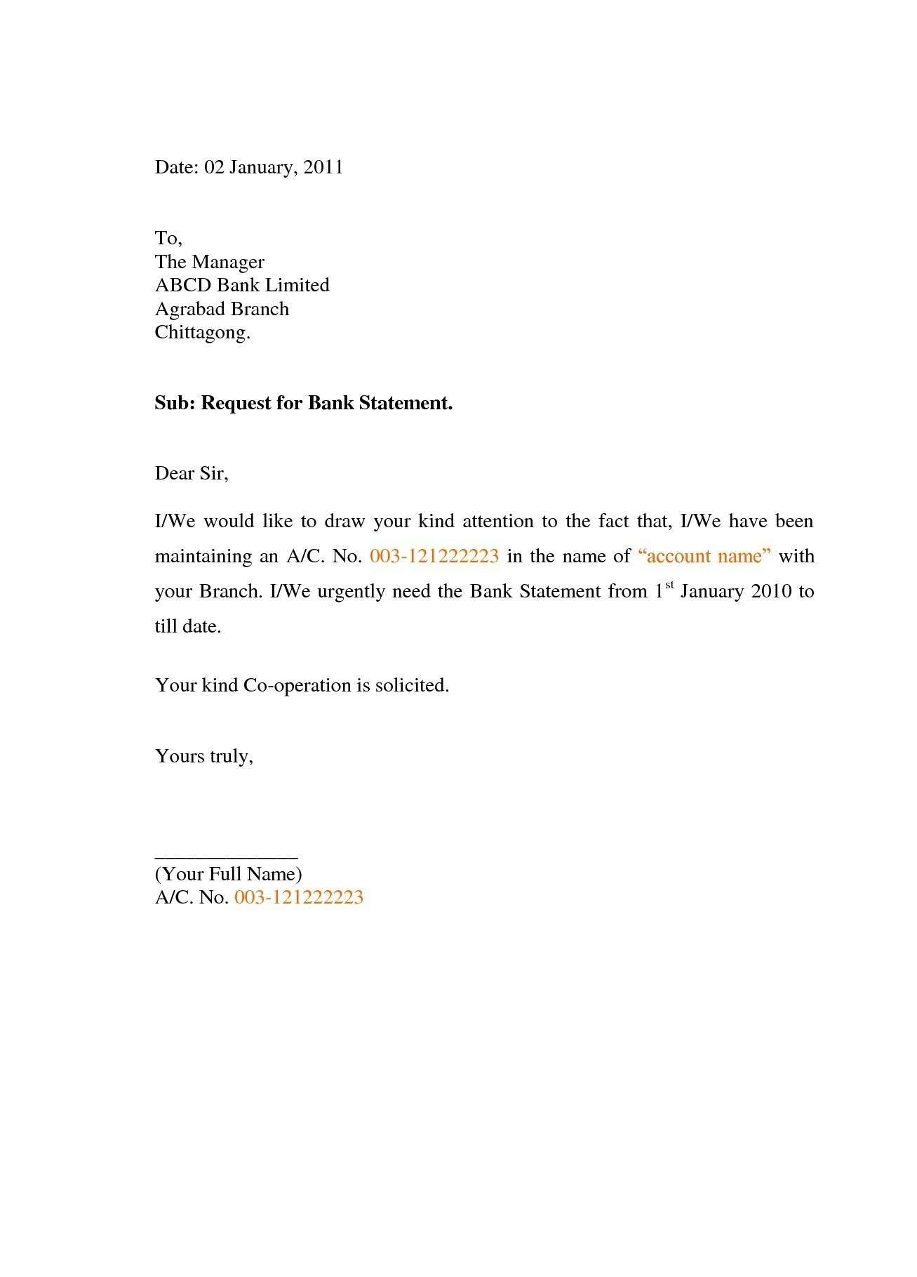 Authorization Letter for Bank Statement