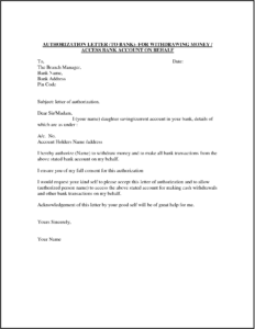 Authorization Letter for Bank Withdrawal