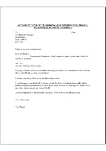 Authorization Letter for Bank Withdrawal pdf