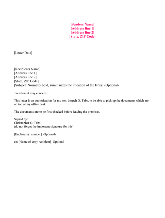Authorization Letter for Collecting Documents
