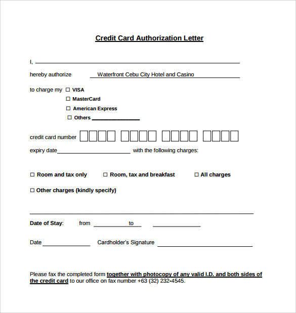 Credit Card Authorization Letter Format