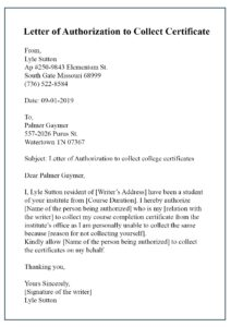 Format of Authorization Letter for Collecting Documents pdf