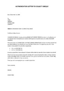 Sample Authorization Letter To Collect Cheque