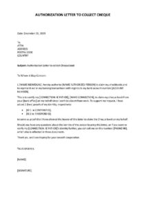 Sample Authorization Letter To Collect Cheque pdf