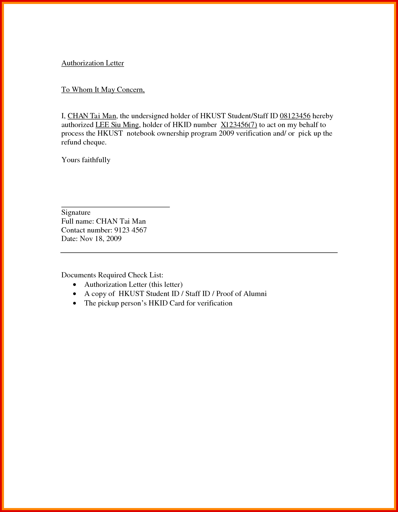Sample Authorization Letter for Collecting Documents