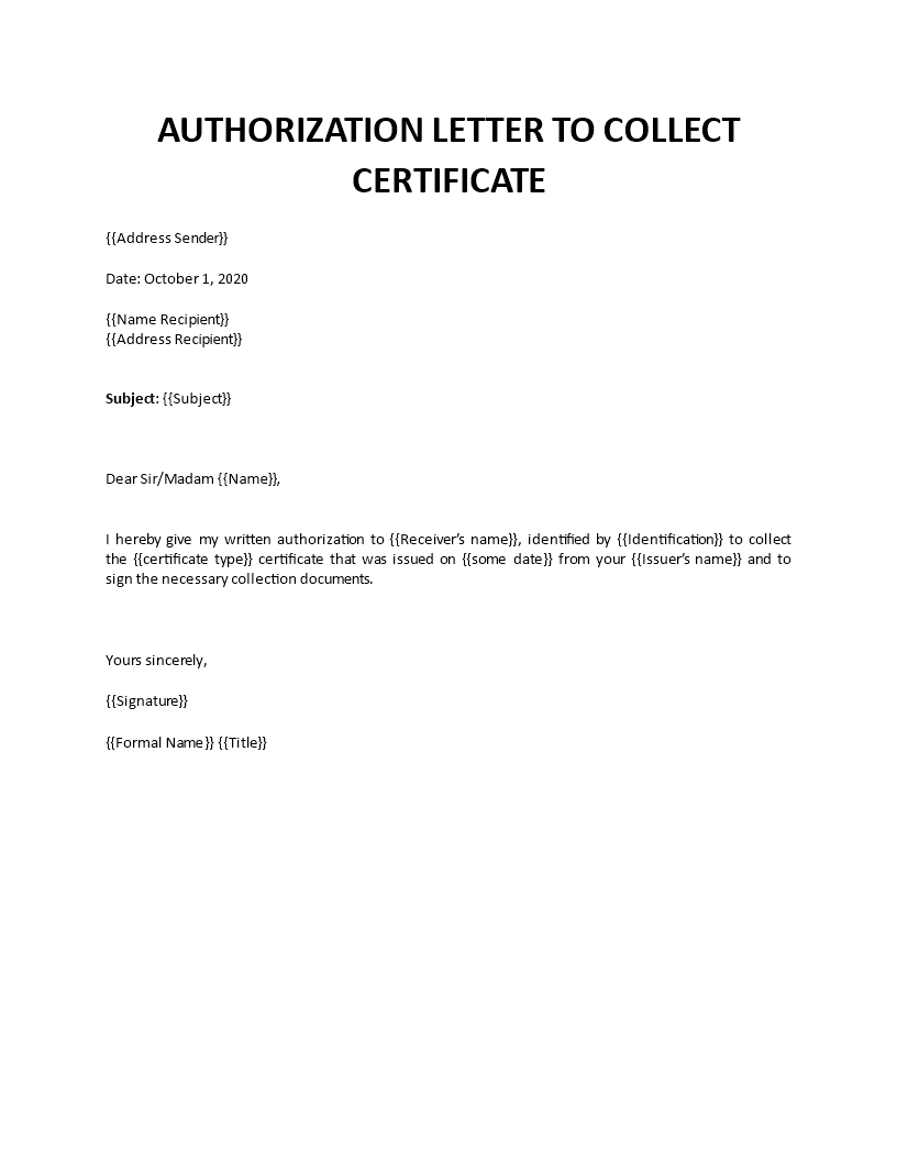 Authorization Letter For Collecting Certificate From College
