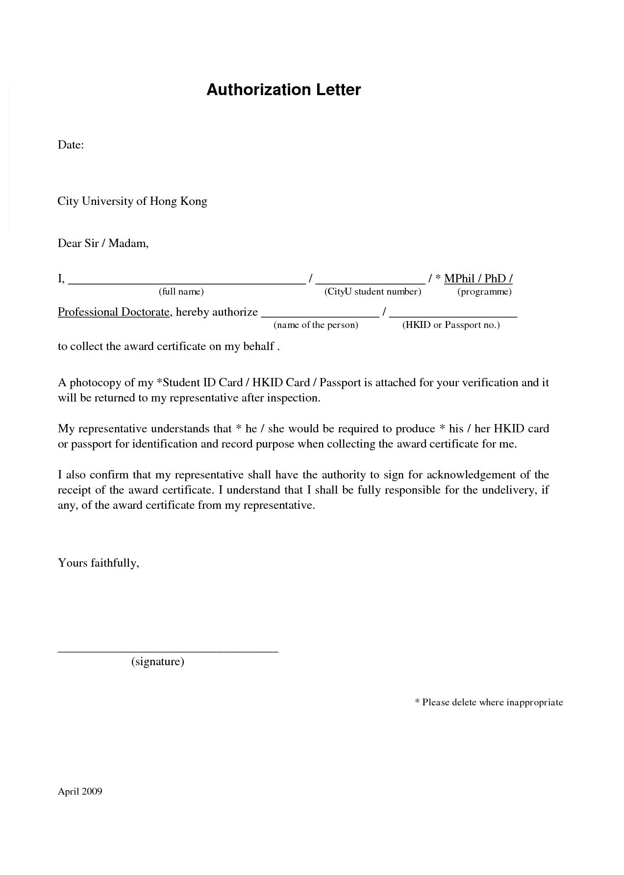 Authorization Letter For Collecting Certificate