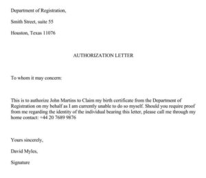 Authorization Letter for Birth Certificate NSO