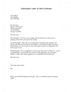 Authorization Letter for Claiming NSO Birth Certificate