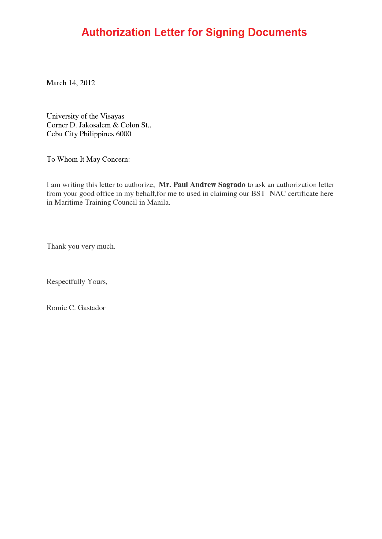 Authorization Letter for Signing Documents