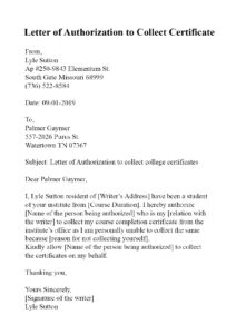 Authorization Letter to School For Collect Report Card pdf