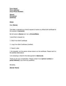 Letter of Authorization for Getting NSO Birth Certificate