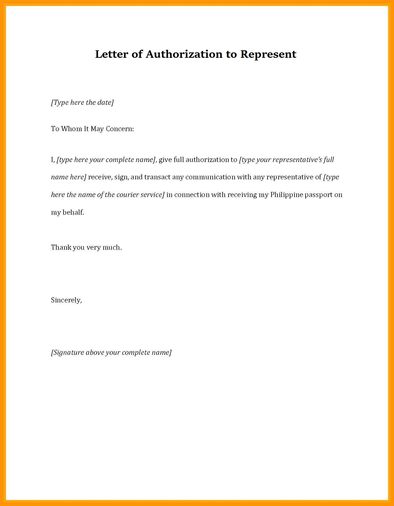 Letter of Authorization to Represent a Company