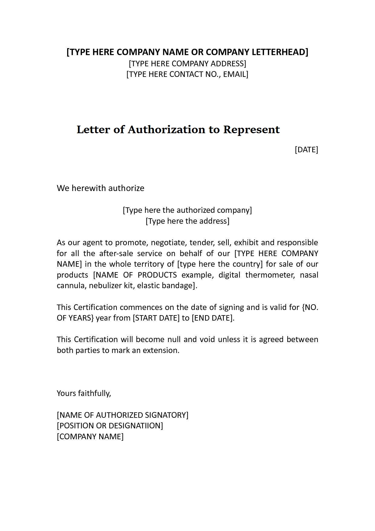 Letter of Authorization to Represent a Person
