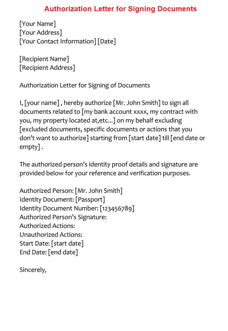 Sample Authorization Letter for Signing Documents