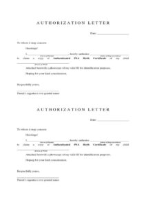 Sample of Authorization Letter for Birth Certificate pdf
