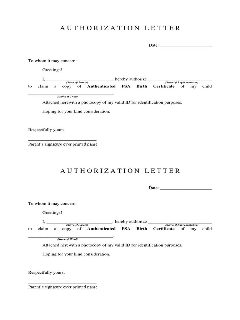 Sample of Authorization Letter for Birth Certificate