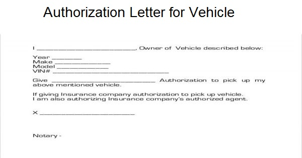 Authorization Letter for Vehicle Use