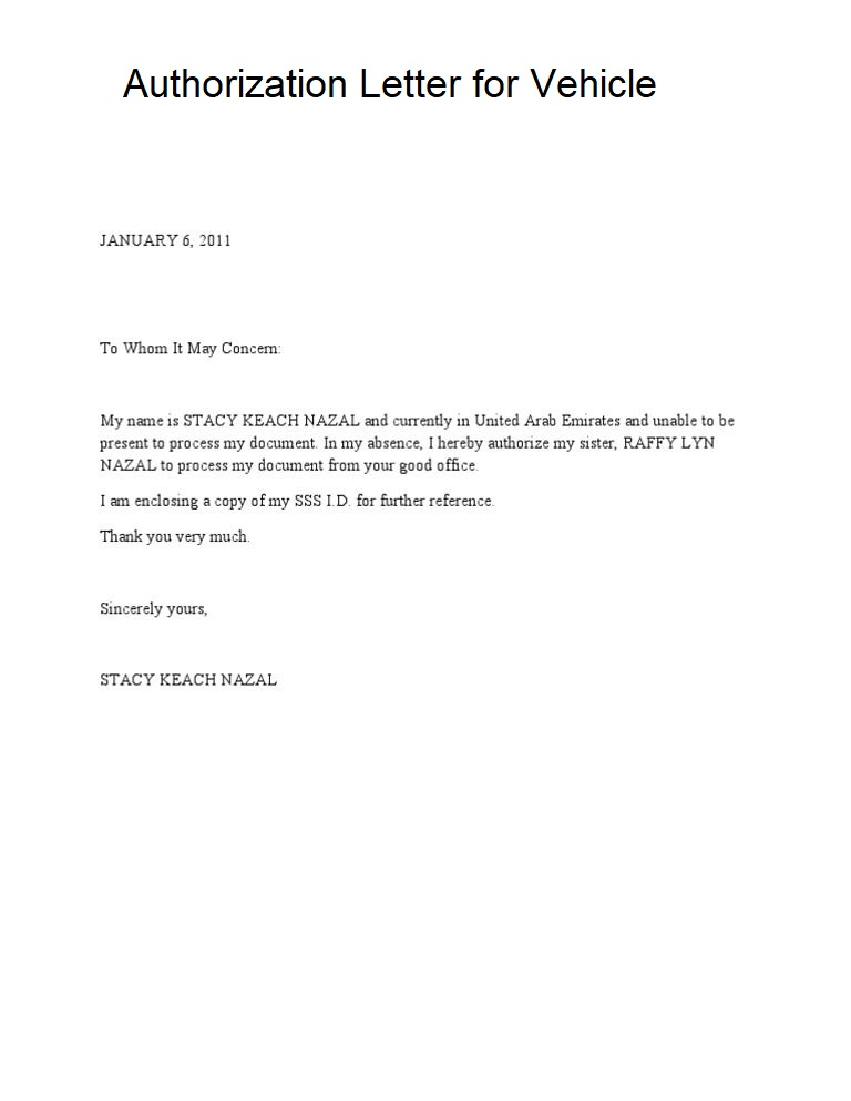 Authorization Letter for Vehicle