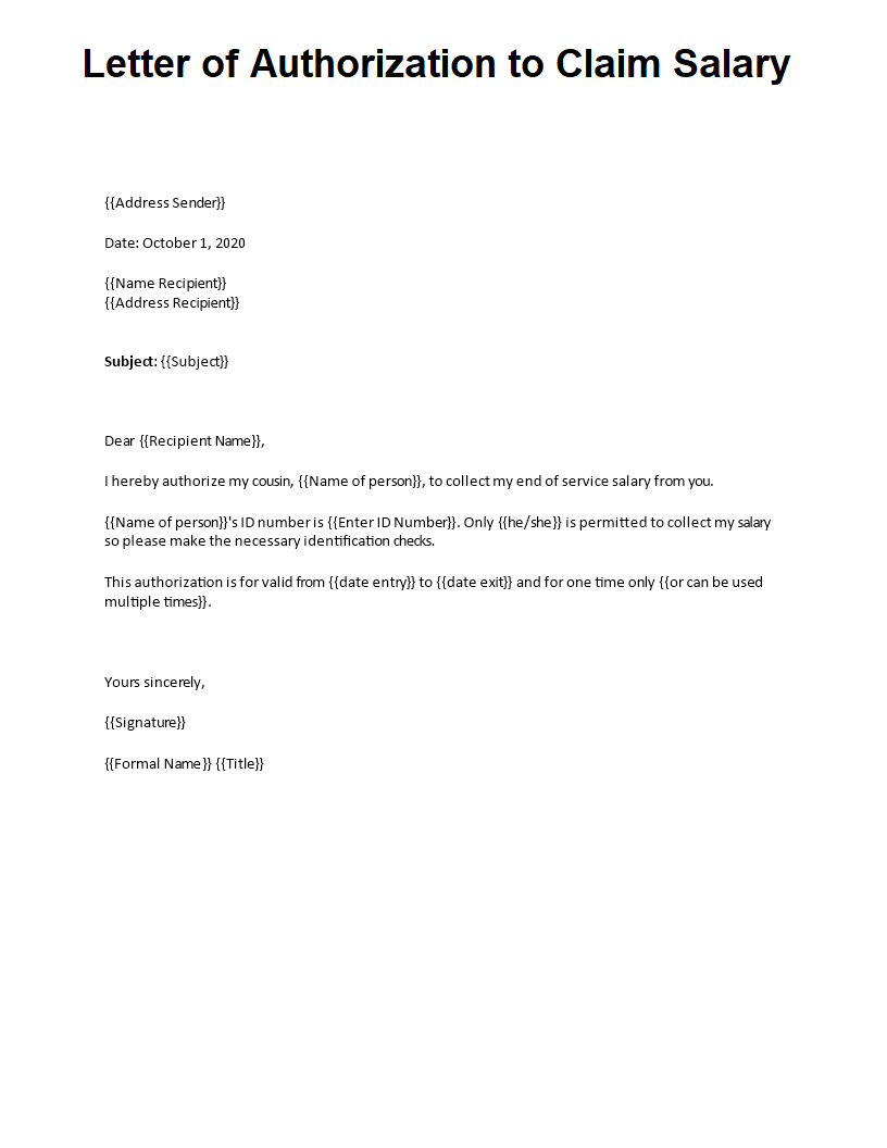 Letter of Authorization to Claim Salary